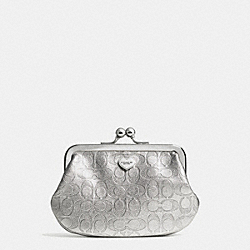 COACH F62407 Perforated Embossed Liquid Gloss Framed Coin Purse SILVER/PEWTER