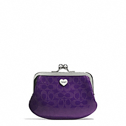 COACH F62407 Perforated Embossed Liquid Gloss Framed Coin Purse SILVER/VIOLET