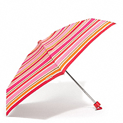 COACH F62449 Peyton Multi Stripe Mini Umbrella SILVER/PINK MULTICOLOR