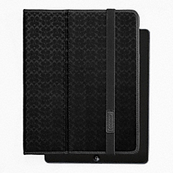 COACH HERITAGE SIGNATURE IPAD CASE - BLACK - F62479