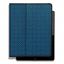 COACH F62479 Heritage Signature Ipad Case NAVY/STORM BLUE