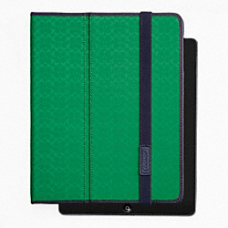 COACH HERITAGE SIGNATURE IPAD CASE - GREEN - F62479