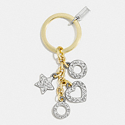 COACH F62502 - OPEN HEART KEY RING MULTICOLOR /CLEAR