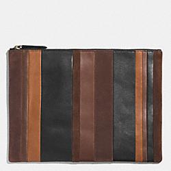COACH F62530 Bleecker Portfolio In Mixed Bar Stripe Leather  FAWN/MULTICOLOR