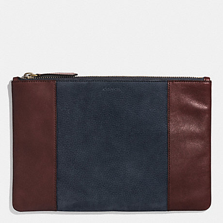 COACH BLEECKER POUCH IN HARNESS LEATHER - NAVY/CORDOVAN - f62531