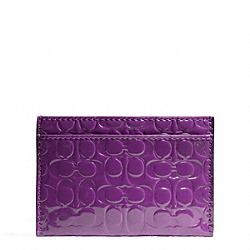 COACH F62544 Embossed Liquid Gloss Card Case BRASS/IRIS