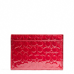 COACH F62544 Embossed Liquid Gloss Card Case BRASS/CORAL RED