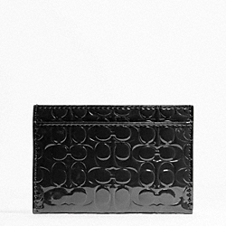 COACH F62544 Embossed Liquid Gloss Card Case SILVER/BLACK