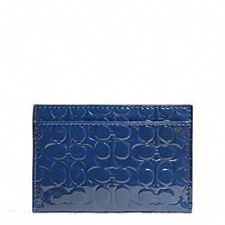 COACH F62544 Embossed Liquid Gloss Card Case SILVER/NAVY