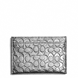 COACH F62544 Embossed Liquid Gloss Card Case SILVER/SILVER