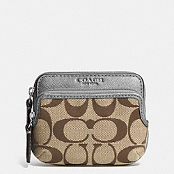 COACH F62545 Park Signature Double Zip Coin Wallet SILVER/KHAKI/PEWTER