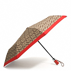 COACH F62553 Park Signature Umbrella SILVER/KHAKI/VERMILLION