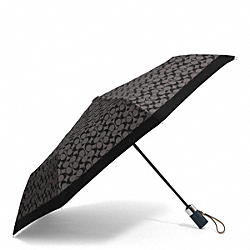 COACH F62553 Park Signature Umbrella SILVER/BLACK GREY/BLACK