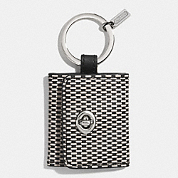 COACH F62561 Printed Leather Picture Frame Key Ring  SILVER/MILK/BLACK