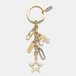 COACH F62568 - PEARL AND LOZENGE MULTI MIX KEY RING  GOLD/WHITE