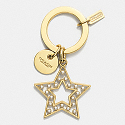 COACH F62571 Pearl Star Key Ring  GOLD/WHITE