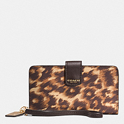 COACH F62608 Phone Wallet In Ocelot Print Saffiano Leather  LIGHT GOLD/BROWN MULTI