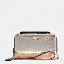 COACH F62612 Double Zip Phone Wallet In Saffiano Colorblock Mixed Material  LIGHT GOLD/PLATINUM MULTI
