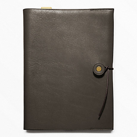 COACH f62656 BLEECKER LEATHER A5 NOTEBOOK DARK GREY