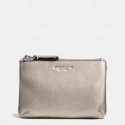 COACH F62775 Park Leather Double Gusset Coin Purse SILVER/PEWTER