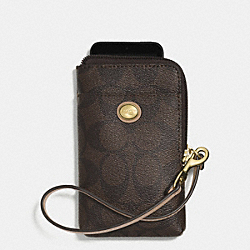 COACH F62926 Peyton Signature Universal Phone Case BRASS/BROWN/TAN