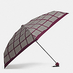 COACH F62959 Peyton Glen Plaid Mini Umbrella SILVER/BORDEAUX MULTI