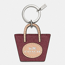 COACH F62984 - METRO TOTE KEY RING SILVER/CRIMSON
