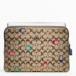 COACH F63065 Poppy Embroidered Signature Laptop Sleeve SILVER/MULTICOLOR