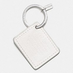 COACH F63081 - COACH LEATHER STORYPATCH KEY RING SILVER/CHALK