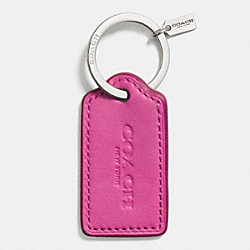 COACH LEATHER HANG TAG KEY RING - f63093 - SILVER/FUCHSIA