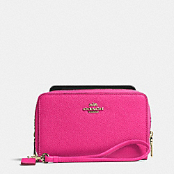 COACH F63112 Double Zip Phone Wallet In Embossed Textured Leather LIGHT GOLD/PINK RUBY