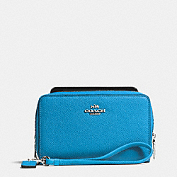 COACH DOUBLE ZIP PHONE WALLET IN CROSSGRAIN LEATHER - SILVER/AZURE - F63112