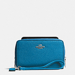 COACH DOUBLE ZIP PHONE WALLET IN CROSSGRAIN LEATHER - SILVER/PEACOCK - F63112