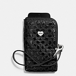 COACH F63131 Perforated Embossed Liquid Gloss Universal Phone Case SILVER/BLACK