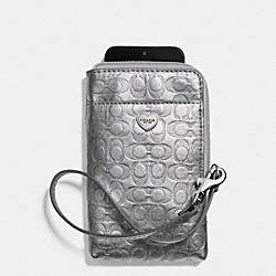 COACH F63131 Perforated Embossed Liquid Gloss Universal Phone Case SILVER/PEWTER