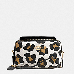 COACH F63149 Double Zip Phone Wallet In Ocelot Print Leather LIGHT GOLD/WHITE MULTICOLOR