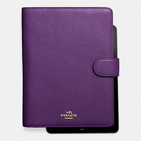 COACH F63153 6X8 TAB JACKET IN CROSSGRAIN LEATHER LIGHT-GOLD/VIOLET