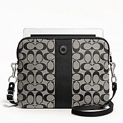 COACH F63219 Signature Stripe Tablet Crossbody SILVER/BLACK/WHITE/BLACK