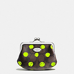 COACH F63238 Framed Coin Purse In Dot Print Coated Canvas SILVER/BROWN/NEON YELLOW