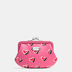 COACH F63239 Framed Coin Purse In Heart Print Coated Canvas  SILVER/PINK MULTICOLOR