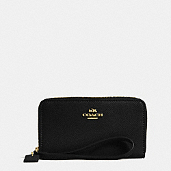 COACH F63257 Crossgrain Leather Zip Case LIGHT GOLD/BLACK