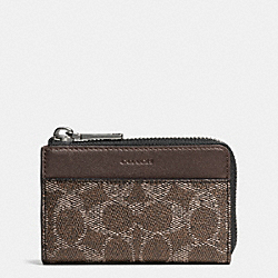 COACH F63267 Zip Key Case In Embossed Signature BARK