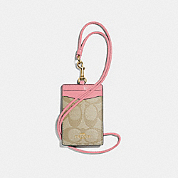 COACH F63274 - ID LANYARD IN SIGNATURE CANVAS LIGHT KHAKI/PEONY/LIGHT GOLD