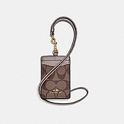 COACH F63274 Id Lanyard In Signature Coated Canvas LIGHT GOLD/KHAKI