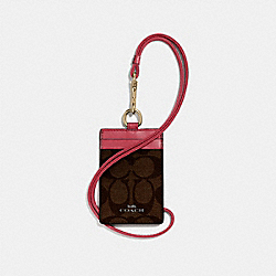 COACH F63274 Id Lanyard LIGHT GOLD/BROWN ROUGE