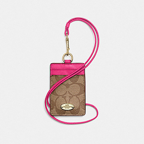 COACH f63274 LANYARD ID CASE IN SIGNATURE CANVAS  LIGHT GOLD/KHAKI/PINK RUBY