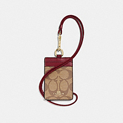 COACH F63274 Id Lanyard In Signature Canvas IM/KHAKI/CHERRY