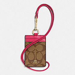 COACH F63274 Lanyard Id Case In Signature IMITATION GOLD/KHAKI BRIGHT PINK