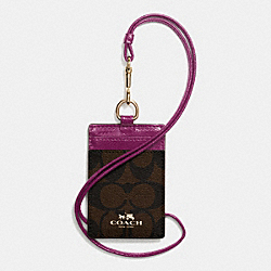 COACH F63274 Lanyard Id Case In Signature IMITATION GOLD/BROWN/FUCHSIA