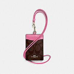 COACH F63274 Id Lanyard In Signature Canvas BROWN/PINK/LIGHT GOLD